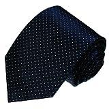 LORENZO CANA - Luxus Marken Krawatte aus 100% Seide - 150 cm lang 8 cm breit - marineblau dunkelblau weisse Punkte - 84229
