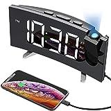 MPOW Projection Alarm Clock, 15 FM Radio Alarm Clock, 5'' Large Curved LED