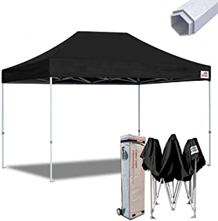 Eurmax 10x15 Premium Ez Pop up Canopy Instant Canopies Shelter Outdoor Party Gazebo Commercial Grade Bonus Roller Bag (Black)