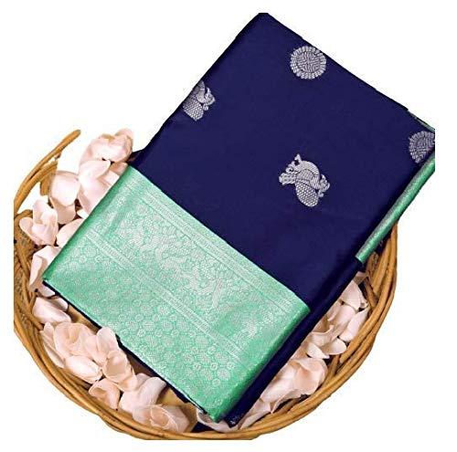 Blue Wish Women's Kanchipuram Silk Saree With Blouse Piece