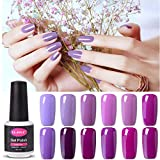 UV nagellack von Clavuz gel shellac set nagellack nail polish set soak off gel Lila und Pink (12xStück 8ML)