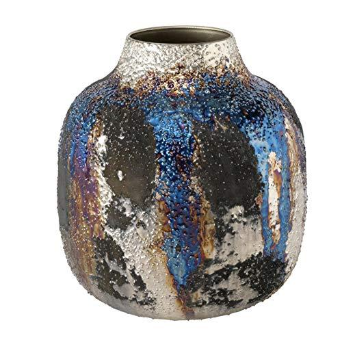 Jarrón de metal de hierro, diseño moderno, color azul oscuro, dorado y plateado, altura de 19 cm