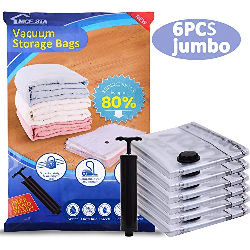 NICE STA Premium 6 Jumbo 80 Space Saver Vacuum Storage Bags 40x30 Compression Bags for Clothes Quilts Pillows and Reusable Hand Pump Included for Traveling