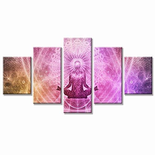 VV cartables 5 panneaux Peinture d'art abstrait Mur Art moderne Rose Bouddha psychédélique Trippy Impression sur Canvasthe Photo pour maison moderne Décoration (tendue par Cadre en bois, prêts à poser)