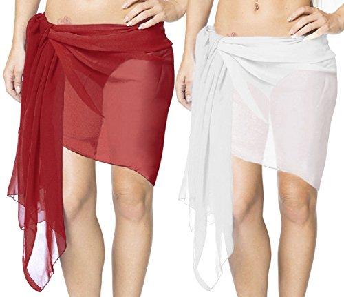 LA LEELA Christmas Kostüme Geschenke Urlaubs Party lf Sarong Mini Pareo Wickelrock Schal für die Gesichtsbedeckung Badeanzug der Frauen Badebekleidung Bade Weiß_S795 Länge: 78