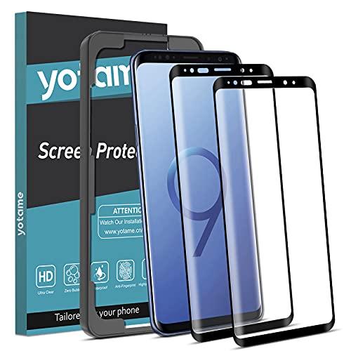 yotame 2 Stück Full Screen Panzerglas Kompatibel mit Samsung Galaxy S9, 9H-Härte Schutzfolie mit Positionierhilfe Anti-Bläschen Anti-Kratzen Kratzfest HD Displayschutzfolie Transparenz Panzerglasfolie