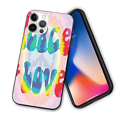 Groovy - Carcasa para iPhone 12 Series 2020, diseño de texto de paz y amor en efecto Tie Dye Energetic Youthful Fun 60s 70s Hippie, diseño flexible y delgado de TPU para iPhone 12 mini 5.4 pulgadas