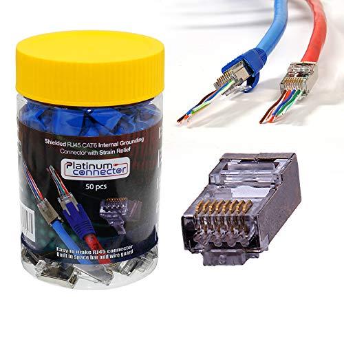 Conector de toma de tierra blindado RJ45 CAT6 con alivio de tensión por conector de platino, 50 unidades de conectores modulares Ethernet y botas de alivio de tensión transparentes, 50 unidades