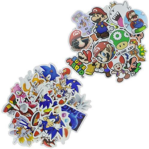 Sonic Super Mario Sticker 100pcs Dibujos animados Mario Bros Pegatinas de pared para habitaciones de niños, decoración del hogar del cuarto de estar, mural regalo de Navidad