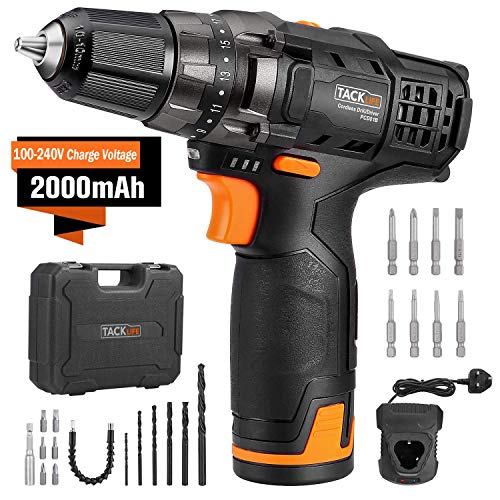 TACKLIFE 12V Cordless Drill Driver,3/8' Metal Chuck,2 Speeds Compact Drill Set with 13pcs Accessories,2000mAh Lithium Battery Pack and 1Hour Fast Charger,PCD01B