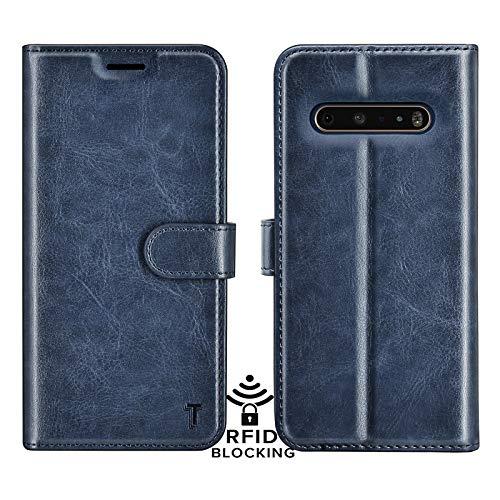 Njjex LG V60 ThinQ 5G Hülle, G9 Brieftaschen-Schutzhülle, RFID-blockierend, luxuriöses PU-Leder, Klappetui mit Kreditkartenfächern, Standfunktion, Magnetverschluss, Handyhülle für [Blau]