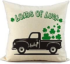 FIBEROMANCE St Patricks Day Pillow Cover 18x18 Loads of Luck Truck Green Clover Farmhouse Happy St Patricks Day Decorations Lucky Decorative Cushion Case Spring Home Decor F113