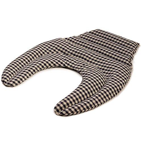 Coussin tour de cou compartimenté avec partie dorsale, Tissu bio bleu et blanc, Coussin aux graines de lin, Coussin de nuque, Coussin chaud pour le dos