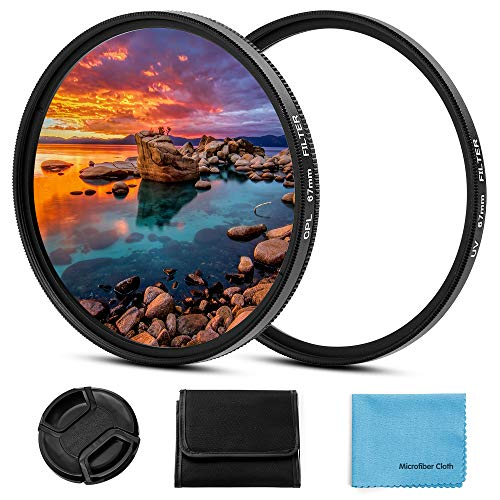 Kit de filtro de 67 mm, kit universal de 67 mm, protección UV, CPL, filtro polarizador circular con tapa de lente central para cámara Canon Nikon, Sony, Pentax Olympus Fuji