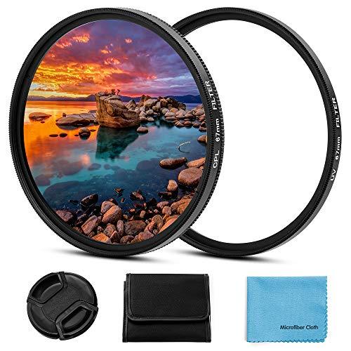 58mm Filter Kit, Fotover 58mm UV CPL Filter Set Universal UV Schutzfilter Zirkular Polarisationsfilter mit Mitte Pinch Objektivdeckel für Canon Nikon Sony Pentax Olympus Fuji Kamera