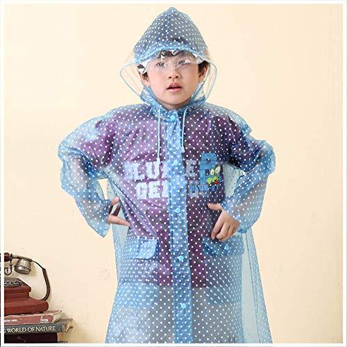 Imperméable pour enfants Guyuan 6-12 Ans Elèves de l'école Primaire des Enfants épaissis avec des Sacs pour garçons et Filles Transparent Children Wave Baby (Color : Blue, Size : L)