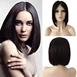 SEGO Lace Front Wig Parrucche Donna Capelli Veri Umani Wigs Human Hair Brasiliani Parrucca Nera Lunga BOB 30cm 100% Remy Lisci 130% Density 130g Nero Naturale [Divisione Centrale]