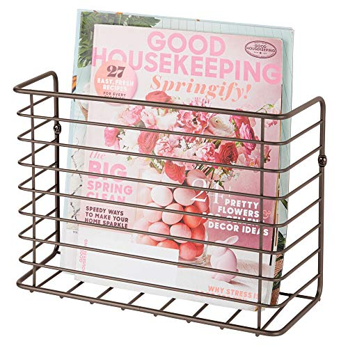 mDesign Metal Wire Farmhouse Wall Mount Magazine Holder, Storage Organizer - Space Saving Compact Rack for Magazines, Books, Newspapers, Tablets in Entryway, Mudroom, Living Room, Office - Bronze