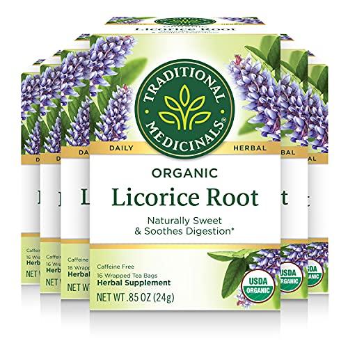 Traditional Medicinals Organic Licorice Root Tea, (Pack of 6) - 96 Tea Bags Total