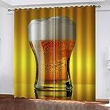Evvsovs Cortinas Opacas para Sala De Estar - Vaso Lleno De Cerveza Creativa Cortinas para Sala De Estar 3D Dormitorio Cocina Niñosdecorativo Sombreado Set De 2 Paneles 150 (Ancho) X166 (Alto) Cm