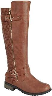 حذاء برقبة طويلة لركوب الخيل بسحاب مبطن MANGO-21 للسيدات من Forever Link (6. 5 M أمريكي، بني فاتح)