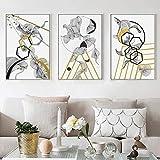 ganlanshu Diseño gráfico Abstracto Moderno Lienzo Pintura impresionismo Arte Pared Imagen decoración del hogar,Pintura sin Marco,50X75cmx3