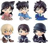 Bandai Detective Conan Conjunto Completo 6 Figuras Colección 4cm Personajes niños pequeños Shinichi Kudo Ran Akai Rei Furuya Gashapon 100% Original