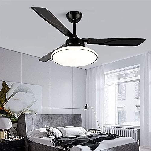 42'Luz de Ventilador de Dormitorio Negro Simple Moderna con Control Remoto 65W Mute Mute Mute TEFILLE Fan LÁMPARAS Ajuste Velocidad Ajuste Ventilador Reversible Ventilador DE Motor ARCHANTELIER para