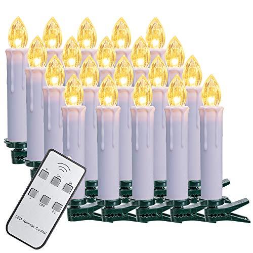 SZILBZ 20Stk Weihnachten LED Kerzen Lichterkette Weihnachtsbaumkerzen weihnachtskerzen Christbaumkerzen mit Fernbedienung Kabellos