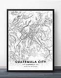 ZWXDMY Leinwand Bild,Guatemala City Map Schwarze Und Weiße