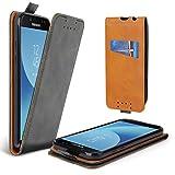 Lelogo Galaxy J7 2017 Hülle, Leder Tasche für Samsung Galaxy J7 (2017) Handyhülle Flip Case Schutzhülle (Schwarz)