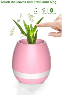 Flower pot Bermnn Touch Sensor Bluetooth Music Flower Pot, LED Night Light Flower Pot, Smart Music Speaker Plant Flower Pot, Creative Personality Cute Green Plant Pot Flower Pot, Home Decoration Flowe