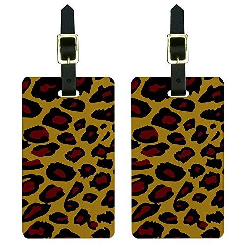Graphics & More - Etiquetas de equipaje con estampado de animales de leopardo, color blanco