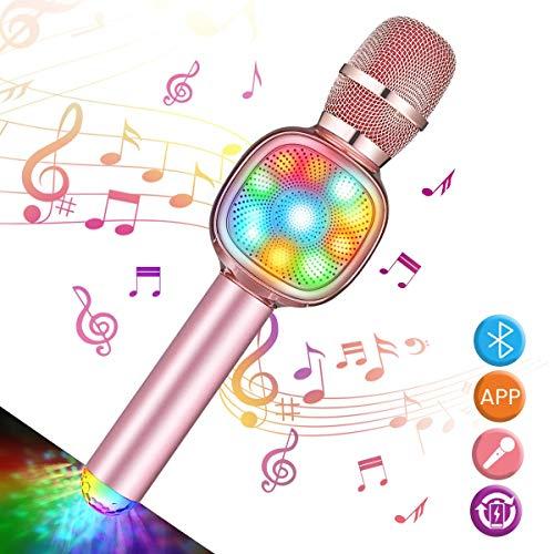 NASUM Wireless Bluetooth Karaoke Microphone for Kids 4-in-1 Portable Handheld Karaoke mic, Home Party Gift, Birthday Speaker Machine for iPhone/Android/iPad/iOS, Singing, Karaoke, Recording Rose Gold