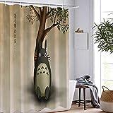 DAMCOK Badezimmer Dekor Cartoon Totoro Duschvorhänge Anime Cartoon Wasserdichtes Polyestergewebe Waschbares Badezimmer Die Film Badvorhänge-B90cmxH180cm