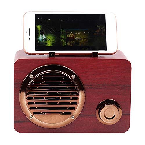 Zwarte luidspreker, oplaadbaar, korte radio, buiten, Bluetooth, helder, mini-USB, reizen, retro, thuisdecoratie, draagbare houten radio, rood.