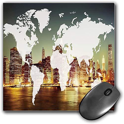 Mouse Pad Gaming Funcional Mundo Alfombrilla de ratón gruesa impermeable para escritorio Mundo Cartografía global Globalización Tierra Concepto internacional Ciudad de Nueva York Decorativo,Multicolor