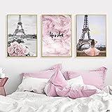 Romántico Francia París Flor rosa Lienzo de plumas Carteles e impresiones Chica Amor escandinavo Arte de la pared Pintura decorativa 50x70cmx3 Sin marco