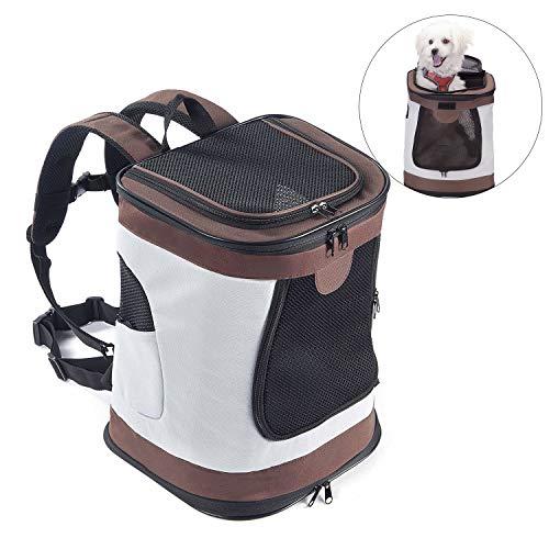 Petcomer SBC5148 Haustiertragetasche für Hunde und Katzen Faltbarer Rucksäcke gut für Wander-Kampagne Tägliche Verwendung, Einheitsgröße, Brown