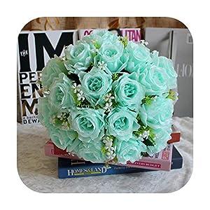 HaHapo Artificial Flower Roses Gypsophila Bouquet 18 Head Fake Rose Wedding Flower Bride Bouquet Home Table Girl Gift Silk Fake Flowers-Blue