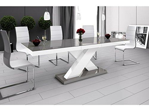 H MEUBLE Table A Manger Design Extensible 160÷210 CM X P : 89 CM X H: 75 CM – Gris/Blanc