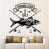ASFGA Club de Pesca calcomanías de Pared Pesca Tienda Hobby mariscos casa decoración de Interiores Ventanas y Puertas Pegatinas de Vinilo Arte Papel Pintado Restaurante Pesca en el mar 42x44cm