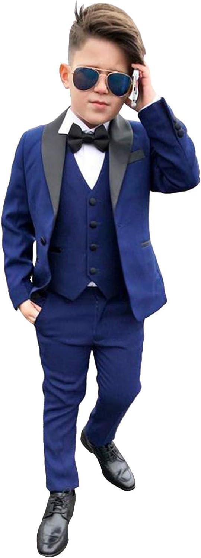 P&G Boys' Three Pieces Suit ShawlLapel SingleBreasted Groomsman Tuxedos