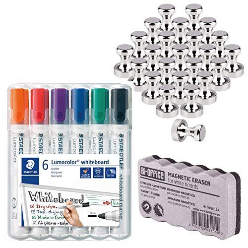 24 Neodym Magnet für Magnettafel, Pinnwand, Whiteboard | Staedtler Lumocolor 351 WP6 Whiteboard-Marker Rundspitze ca. 2 mm Linienbreite, 6 Farben | Bi-Office Whiteboardlöscher - Bundle