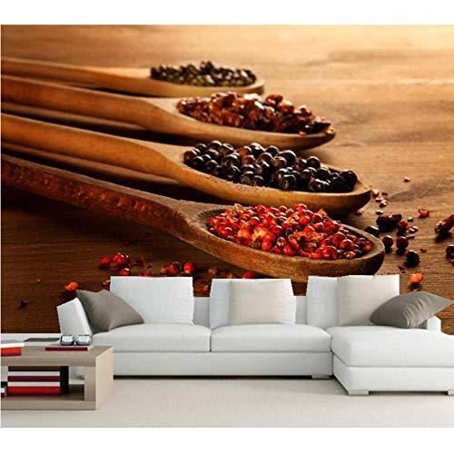 Hwhz Tapete der Wand 3d abziehbar Kundenspezifische Gewürz-Löffel-Nahrungsmittelwandtapete 3D, Restaurantesszimmersofa Fernsehwand-Küchentapete Für Wände 3D-200X140Cm
