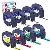 Hehua 8 Pack Compatible Dymo 12mm x 4m Letratag 91201(3Pack) 91202 91203 91204 91205 12267, Cinta de Etiqueta Plástico para Dymo Etiquetadora LT-100h LT-100T LT-110T XR XM