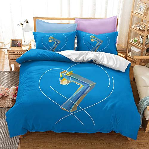 BTS Home Collection Juego de Cama de 3 Piezas, Incluye Funda nórdica, sábana Ajustable de Almohada/F / 2pc Set 135 * 200cm