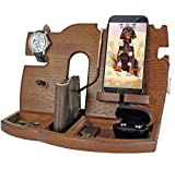 BarvA Wood Docking Station Tray Cell Phone Smartwatch Holder Men Charging Accessory Nightstand Father Mobile Base Gadget Organizer Dresser Wallet Storage Anniversary Birthday Graduation Gift