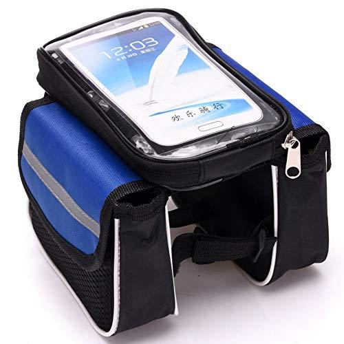 Fietstas MTB Tube Zadel Zak-Touch Screen Mobiele Telefoon Tas Riding Gear/Bilaterale Kleine Code Mobiele Telefoon Zak-Blauw-Rood