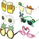 6 Pares de Gafas de Sol de Fiesta de Novedad Gafas de Sol Tropicales Hawaianas Gafas Creativas Divertidas de Disfraces Gafas de Fiesta de Playa Accesorios de Fotomatón para Niños Adultos